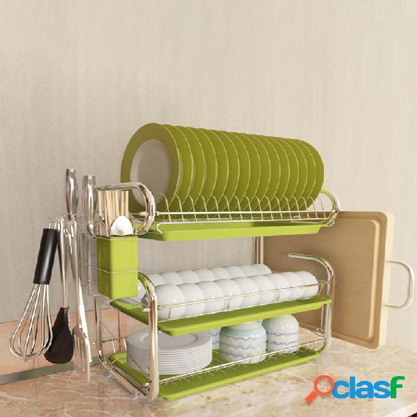 escurridor de platos de 3 niveles soporte para rejilla de secado acero inoxidable cocina para el hogar mostrador de almacenamiento para lavado organizador estante para ahorrar espacio con so
