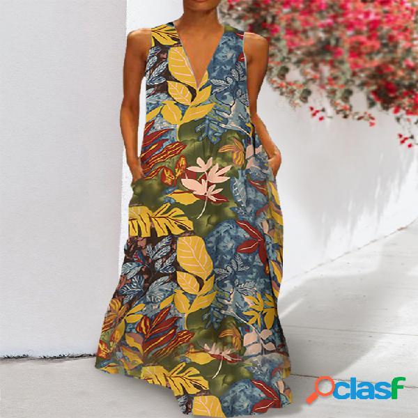 Floral impreso cuello en v bolsillos laterales sin mangas maxi vestido