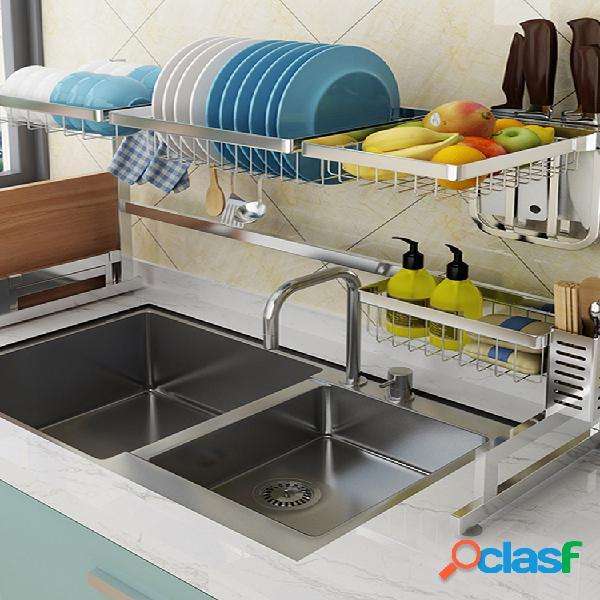 Sobre fregadero plato cubiertos rejilla de secado escurridor estante de cocina de acero inoxidable