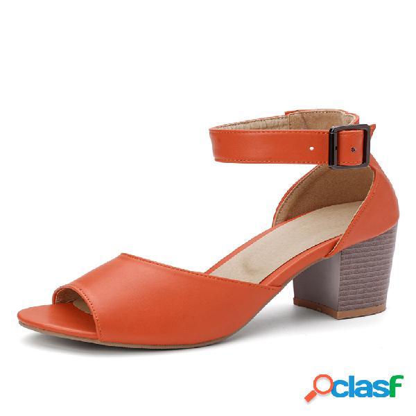 Peep toe de tacón grueso alto de gran tamaño para mujer sandalias