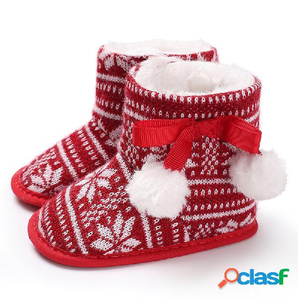 Baby girls christmas con cordones pom-pom decor comfy soft warm snow botas zapatos para niños pequeños