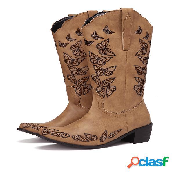 Plus talla mujer retro mariposa bordado tacón grueso punta cuadrada vaquero botas