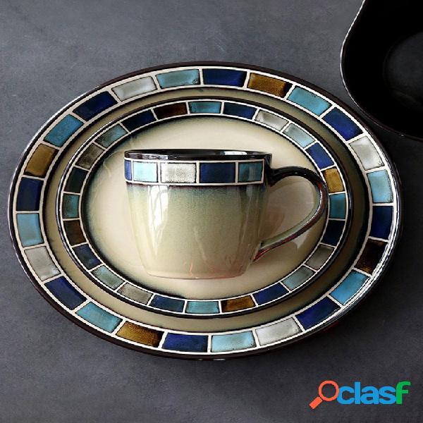 Pasta de filete de cerámica placa ensaladera bandeja para cubiertos marca taza de café juego de vajilla con glaseado reactivo