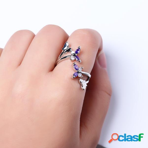 Sweet ajustable anillo purple zircon butterfly mujer anillo
