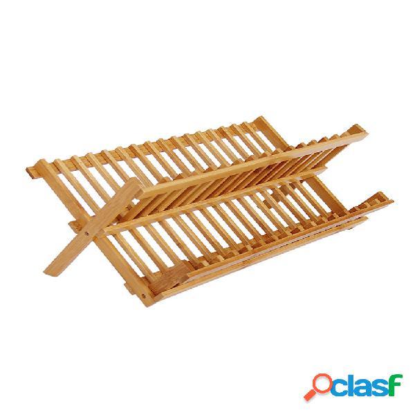 Plato de bambú plegable que seca la placa de la bandeja plato de la bandeja del drainer + sostenedor de los cubiertos del utensilio