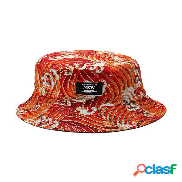 Mujer verano algodón wave patrón cubo sombrero sombrilla informal transpirable playa sombrero