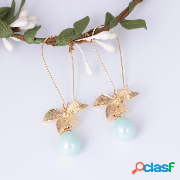 Sweet oreja drop pendientes gold flower oval perla artificial water drop colgante pendientes for mujer