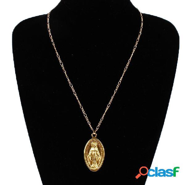 Collar colgante de la vendimia oval diosa patrón colgante collar de cadena joyería étnica para mujeres