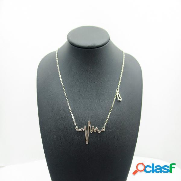 Collar de cadena dulce cardiograma peach heart colgante collar de clavicalis joyería de moda para mujeres