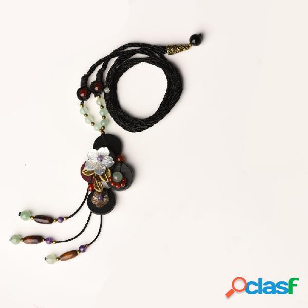 Collar étnico hecho a mano colgante collar de cera cuerda flor hoja cuentas de amatista de jade colgante collar para mujer