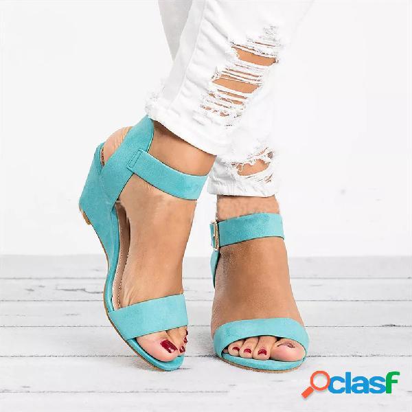 Mujer cuñas de hebilla peep toe de color liso informal sandalias