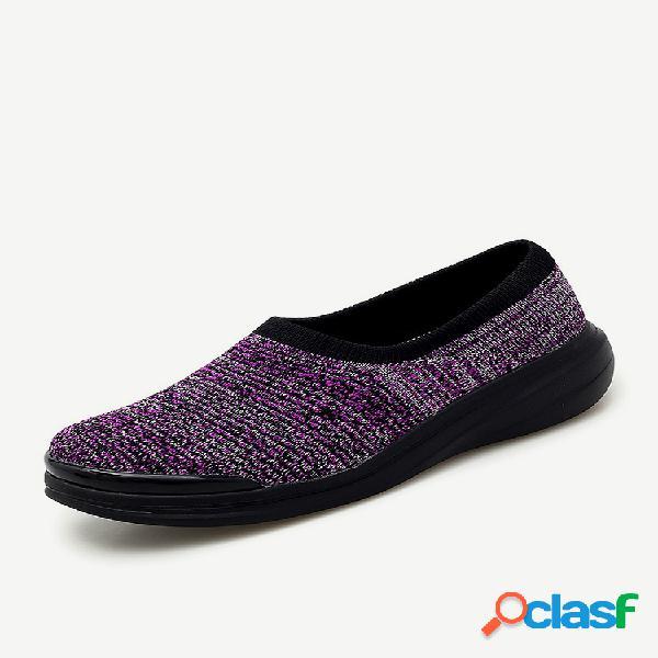 Mujer casual comfy fly mesh soft zapatillas bajas sin cordones para caminar