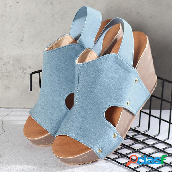 Mujer color sólido peep toe hollow slingback wedges sandalias