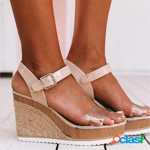 Mujer casual abierto peep toe hebilla correa paja cuñas talón sandalias