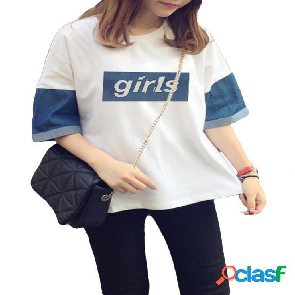 Denim patchwork impreso letras manga corta casual camisetas