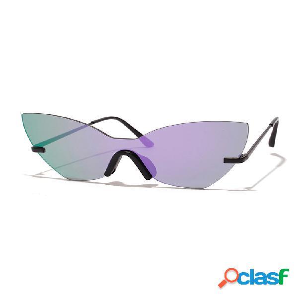 Mujeres retro gato eye anti-uv metal temple gafas de sol sin marco gafas de sol de mariposa