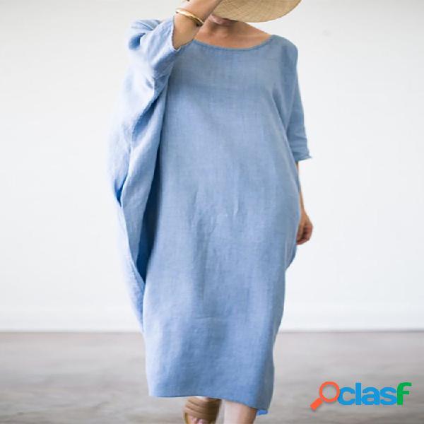 Color sólido suelto holgado plus tamaño maxi vestido con bolsillos