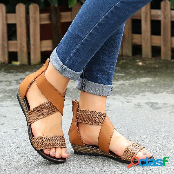 Mujer cómoda roma peep toe con cremallera plana sandalias