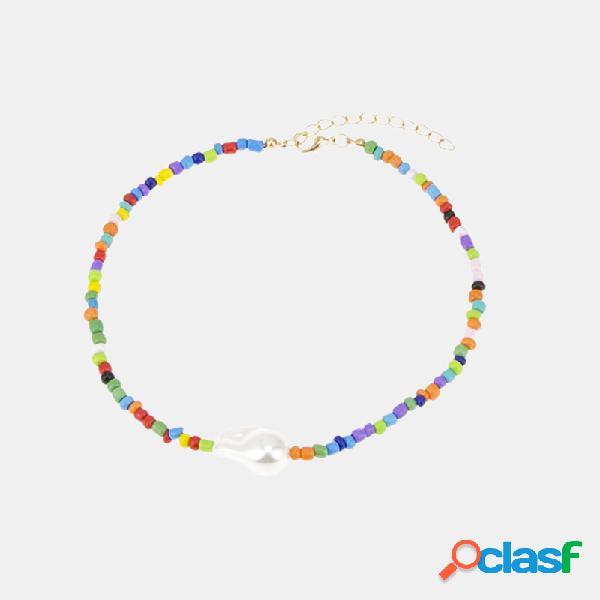 Collar de perlas irregulares geométricas étnicas colgante collar de cuentas de color cadena de clavícula