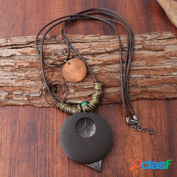 Vendimia madera de doble capa colgante collar hecho a mano redondo placa hoja colgante mujer collares largos