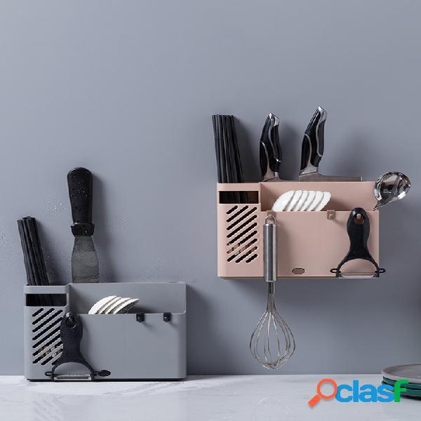 Organizador de almacenamiento de cocina multifunción creativo drenaje palillos jaula cuchara montada en la pared soporte para tenedores