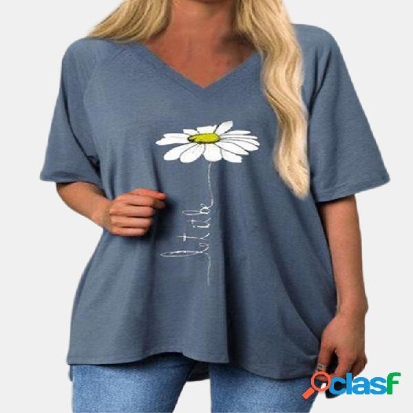Daisy floral impreso de manga corta con cuello en v camiseta larga