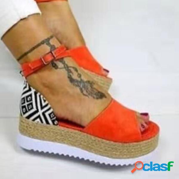Gran tamaño mujer plataforma de alpargata con hebilla peep toe sandalias