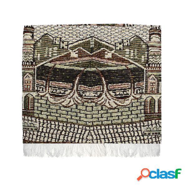 Alfombra de oración islámica de 110 x 70 cm alfombra de oración musallah para viajes a casa