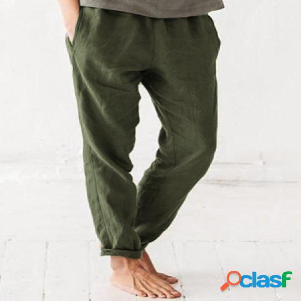 Color sólido cintura elástica plus tamaño pierna recta pantalones