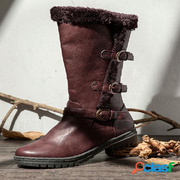 Mujer invierno microfibra cálido felpa cremallera nieve hasta la rodilla botas