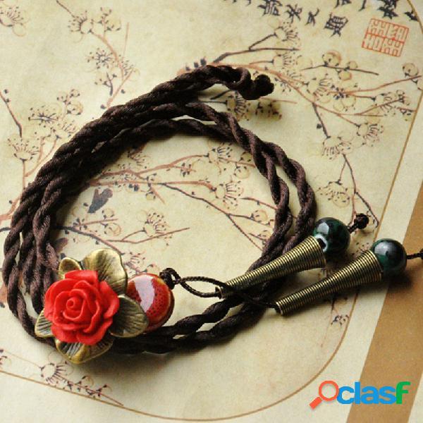 Vendimia flor colgante collar de trompeta de cuentas redondas encanto collar joyería étnica para mujer