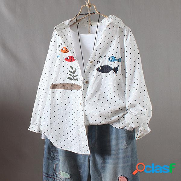 Polka dot cartoon fish print manga larga camisa para mujer
