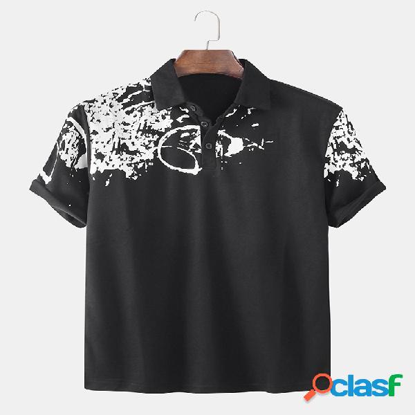 Hombre splash ink impreso casual manga corta golf camisa
