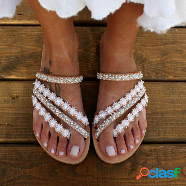 Mujer sweet casual dedo del pie del clip cómodo soft suela plano strappy zapatillas