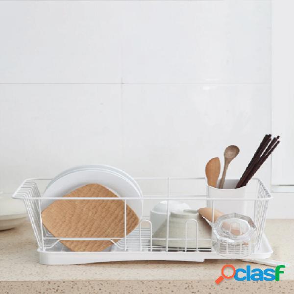 Estante de acero inoxidable de una sola capa placa tazón cuchara cubiertos almacenamiento de secado para platos de cocina