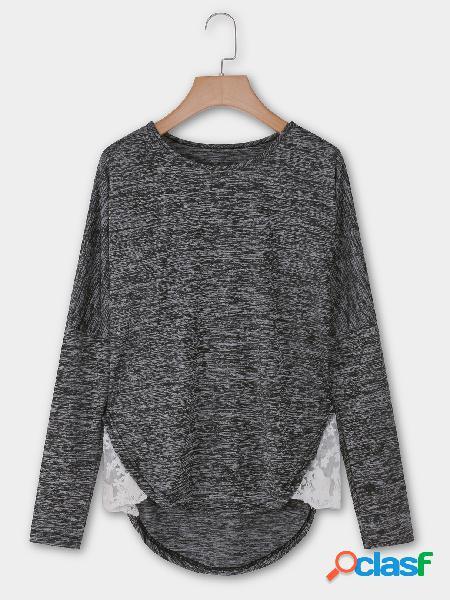 Cuello redondo gris oscuro manga larga dobladillo dobladillo camisetas