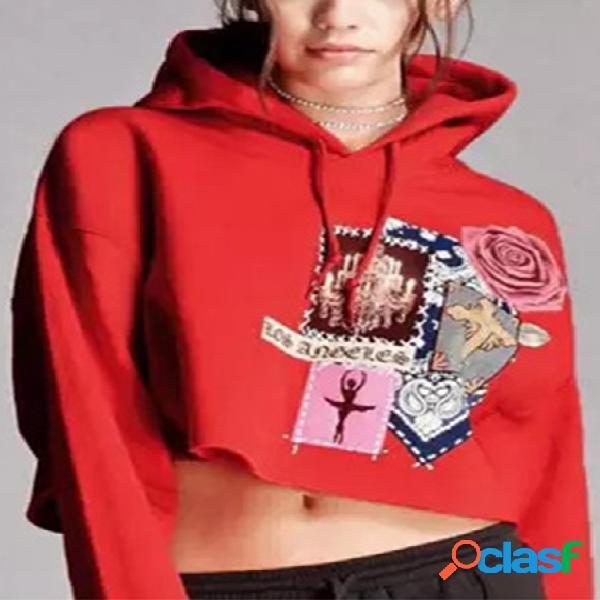 Cuello redondo estampado al azar con estampado floral deportivo sudaderas con capucha en rojo