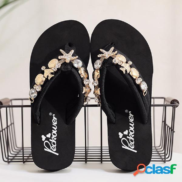 Mujer starfish chain decor comfy clip toe playa diapositivas zapatillas