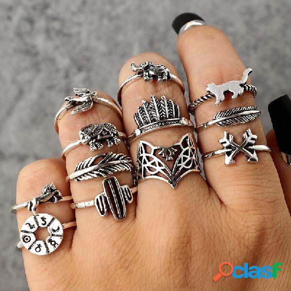 Vendimia anillos de animales geométricos establecidos anillos de nudillo de cactus huecos anillos joyería de moda para mujer