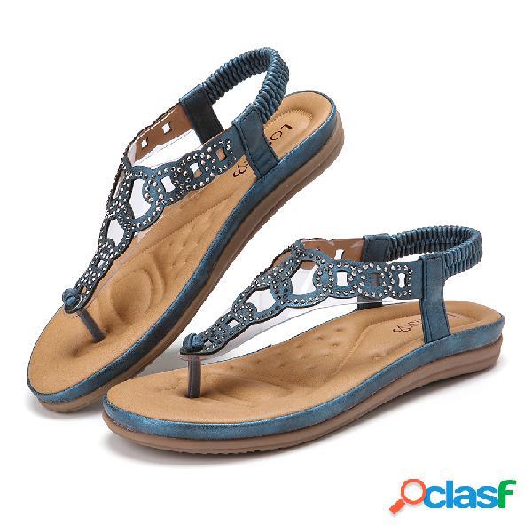 Chanclas de diamantes de imitación lostisy playa clip toe elastic banda casual flat sandalias