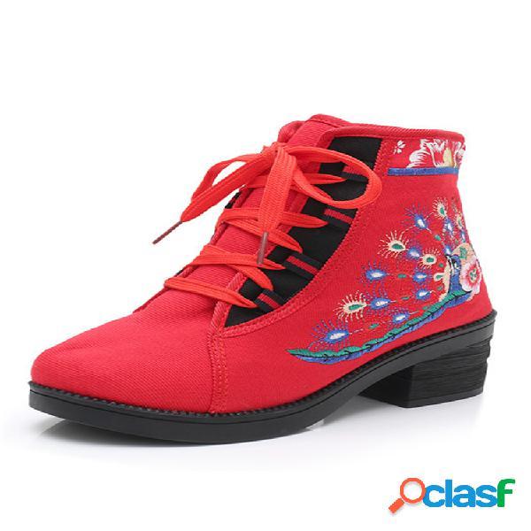 Mujer elegante pavo real flores bordado usable punta redonda corto botas