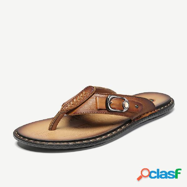 Chanclas hombre piel al aire libre playa water cuero zapatillas