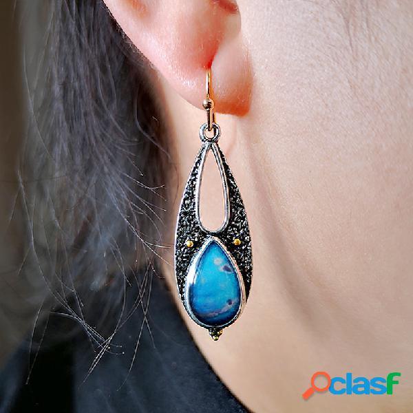 Vendimia turquesa pendiente geométrico hueco epoxi gota de agua mujer colgante pendientes