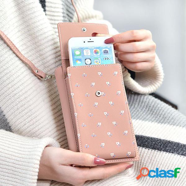 Elegante teléfono de 6.5 pulgadas bolsa 6 ranuras para tarjetas flor patrón hombro con solapa bolsa portatarjetas cartera
