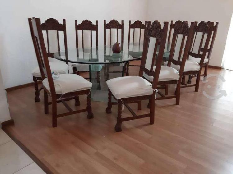 Comedor fino sillas de caoba tallada, mesa vidrio