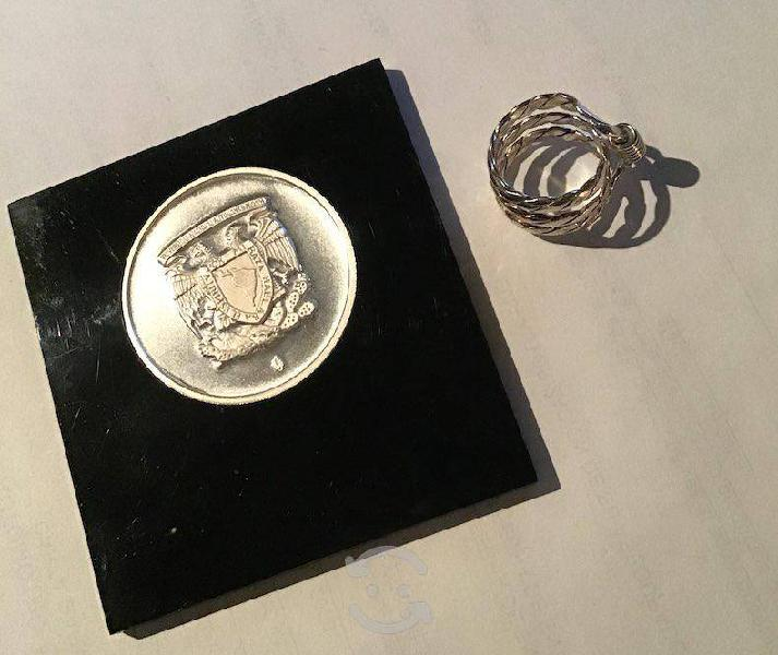 Moneda y anillo de plata 999 plata pura