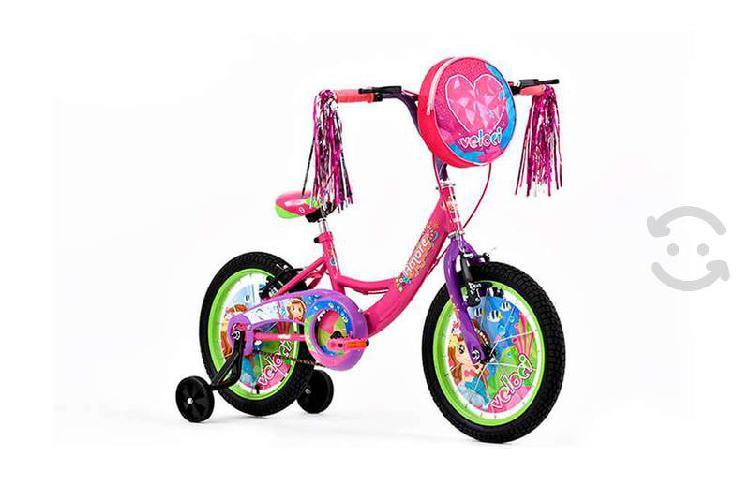 Bicicleta infantil veloci amore mio rodada 16 rosa