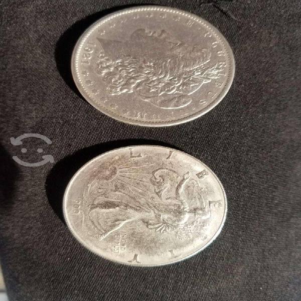 Dos monedas de 1900 y 1921 liberty de un dólar