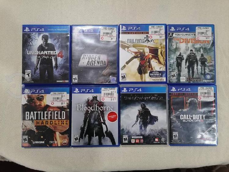 V/C 8 juegos para PS4, acepto algún celular