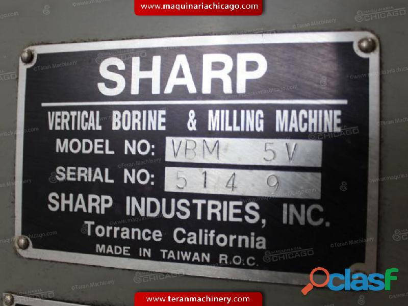 "Fresadora Vertical SHARP 19 1/2"" x 87"" en Venta 1"